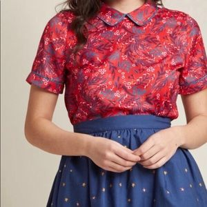 NWOT ModCloth red and blue floral top